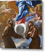 The Immaculate Conception With Saints Francis Of Assisi And Anthony Of Padua Metal Print