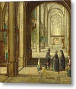 The Interior Of A Gothic Church Looking East Metal Print