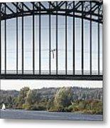 The Iron Railway Bridge Over The Rhine At Arnhem Netherlands Metal Print