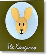 The Kangaroo Cute Portrait Metal Print