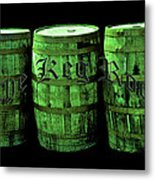 The Keg Room 3 Green Barrels Old English Hunter Green Metal Print