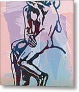 The Kissing - Rodin Stylized Pop Art Poster Metal Print