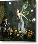 The Knight And The Faerie Metal Print