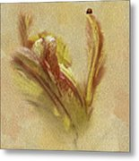The Lady And The Parrot Tulip Metal Print