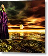 The Lady And The Sea Of Gold Metal Print