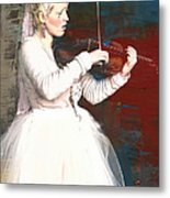 The Lady With The Violin Metal Print