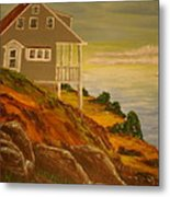 The Lake Cottage Metal Print