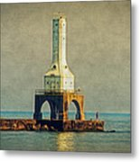 The Lighthouse And The Fisherman Metal Print
