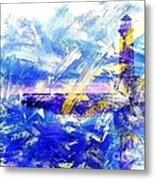 The Lighthouse Through Turbulent Waters Metal Print
