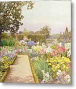 The Lily Border At Great Tangley Manor Metal Print