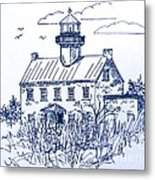 The Lines Of East Point Light In Blue Metal Print