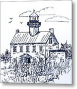 The Lines Of East Point Lighthouse In Blue 2 Metal Print