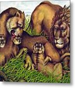 The Lion Family Metal Print