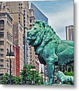 The Lions Of Chicago Metal Print