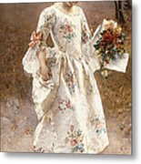 The Little Flower Girl  Metal Print by Albert Raudnitz
