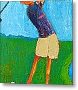 The Little Golfer Metal Print