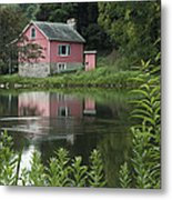 The Little Pink Cabin With Ripples Metal Print