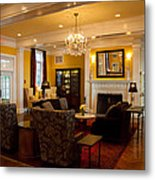The Lobby Fireplace At The Sagamore Resort Metal Print