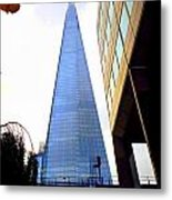 The London Shard In Blue No4 Metal Print