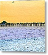 The Long Pier - Art By Sharon Cummings Metal Print