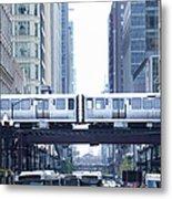 The Loop And El Train In Chicago Metal Print
