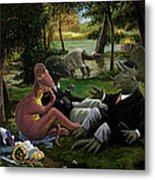 The Luncheon On The Grass With Dinosaurs Metal Print