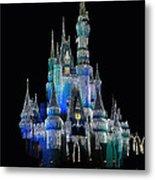 The Magic Kingdom Castle In Frosty Dark Blue Walt Disney World Metal Print