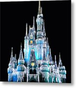 The Magic Kingdom Castle In Frosty Light Blue Walt Disney World Metal Print