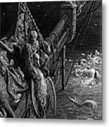 The Mariner Gazes On The Serpents In The Ocean Metal Print by Gustave Dore
