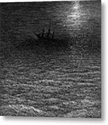 The Marooned Ship In A Moonlit Sea Metal Print