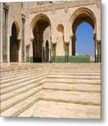 The Massive Colonnades leading to the Hassan II Mosque Sour Jdid Casablanca Morocco Metal Print