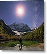 The Milky Way And Waxing Cresent Moon Metal Print