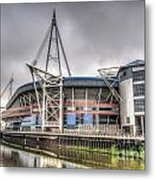 The Millennium Stadium With Flag Metal Print