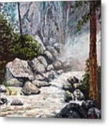 The Mist At Bridalveil Falls Metal Print