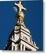 The Moon And St Paul's   Metal Print