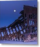 The Moon Sets Over The Wreck Metal Print