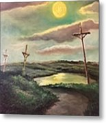 The Moon With Three Crosses Metal Print