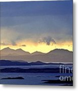 The Mountains Of Mull Seen Over The Sound Of Jura Inner Hebrides Scotland From Above Crinan Metal Print
