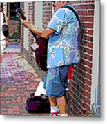 The Music Man And His Red Shoes Metal Print