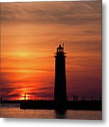 The Muskegon Lighthouse An A Lone Man Fishing Metal Print