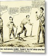 The National Game - Abraham Lincoln Plays Baseball Metal Print