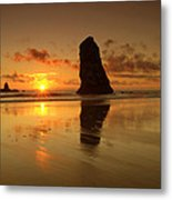 The Needles At Haystack - Cannon Beach Sunset  Metal Print
