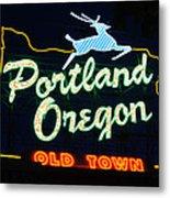 The New Portland Oregon Sign Metal Print by DerekTXFactor Creative