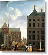 The Nieuwe Kerk And The Rear Of The Town Hall In Amsterdam  Metal Print by Isaak Ouwater