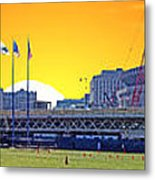 The Old And New Yankee Stadiums Side By Side At Sunset Metal Print