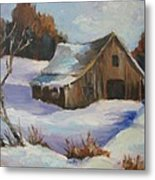 The Old Barn In Winter Metal Print