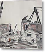 The Old Berkeley Marina Junk Heap On A Foggy Day Metal Print by Asha Carolyn Young