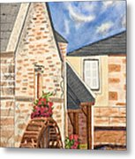 The Old French Mill Watercolor Art Prints Metal Print