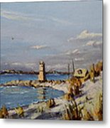 The Old Lighthouse At Rockaway Point Metal Print