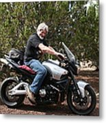 The Old Man On The Motorcycle Metal Print